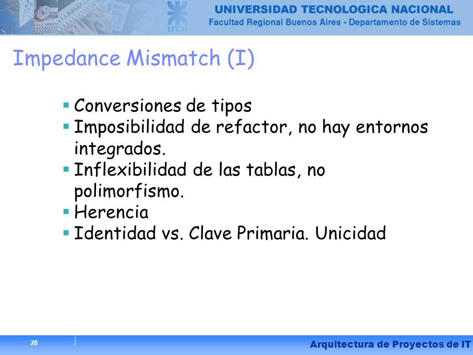 28 Arquitectura de Proyectos de IT 28 Impedance Mismatch (I) Conversiones de tipos Imposibilidad de refactor, no hay entornos integrados. Inflexibilid