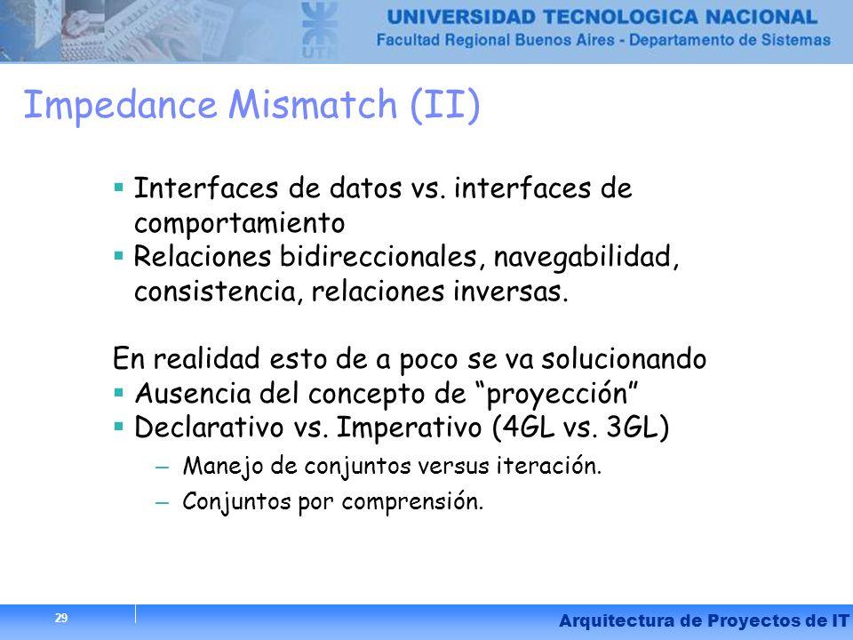 29 Arquitectura de Proyectos de IT 29 Impedance Mismatch (II) Interfaces de datos vs. interfaces de comportamiento Relaciones bidireccionales, navegab