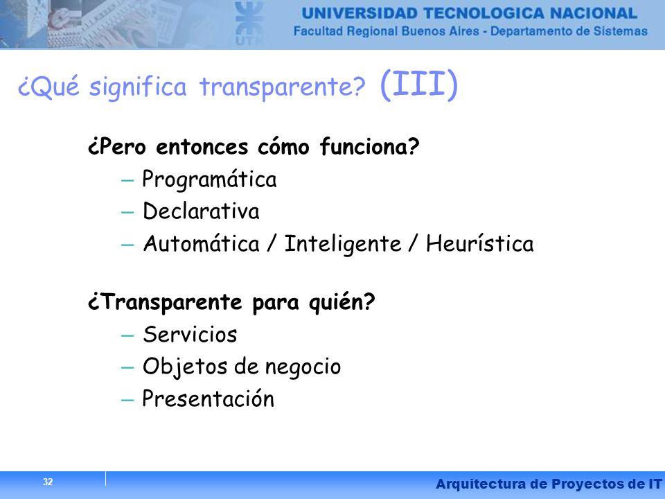 32 Arquitectura de Proyectos de IT 32 ¿Qué significa transparente? (III) ¿Pero entonces cómo funciona? – Programática – Declarativa – Automática / Int