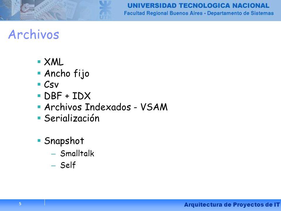 5 Arquitectura de Proyectos de IT 5 Archivos XML Ancho fijo Csv DBF + IDX Archivos Indexados - VSAM Serialización Snapshot – Smalltalk – Self