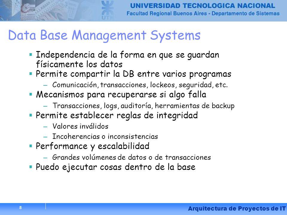 8 Arquitectura de Proyectos de IT 8 Data Base Management Systems Independencia de la forma en que se guardan físicamente los datos Permite compartir l