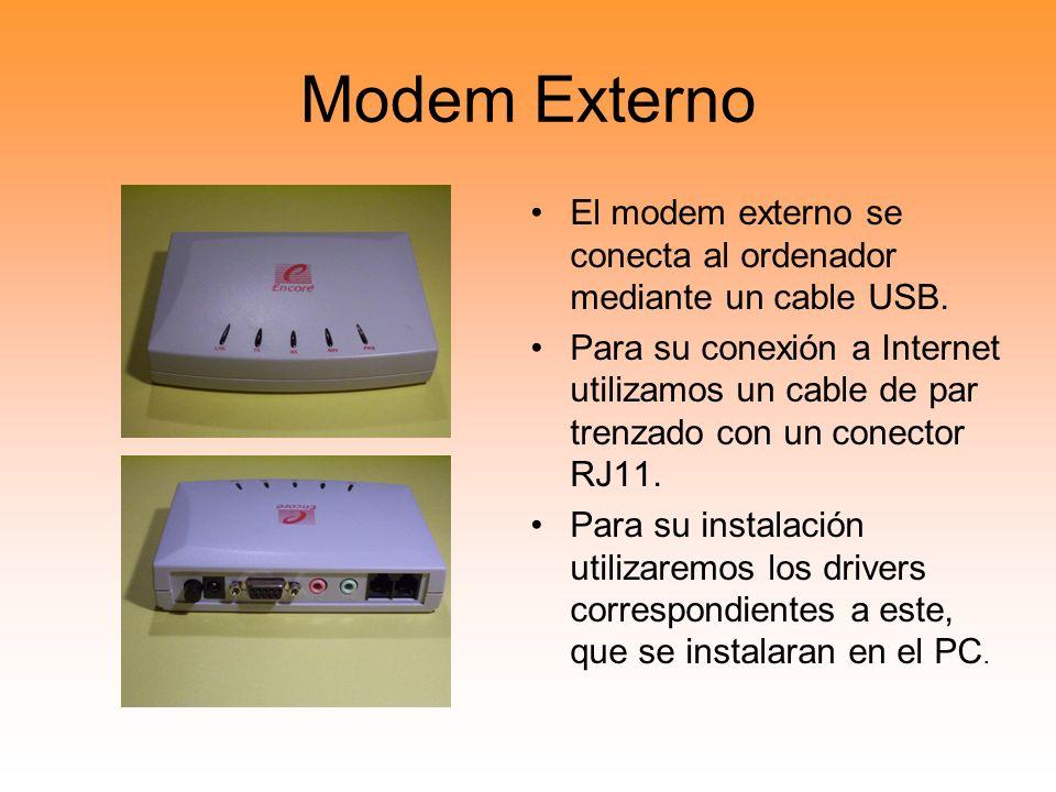 Modem Externo El modem externo se conecta al ordenador mediante un cable USB. Para su conexión a Internet utilizamos un cable de par trenzado con un c