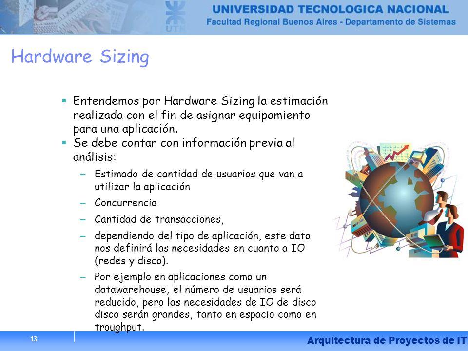13 Hardware Sizing Entendemos por Hardware Sizing la estimación realizada con el fin de asignar equipamiento para una aplicación. Se debe contar con i
