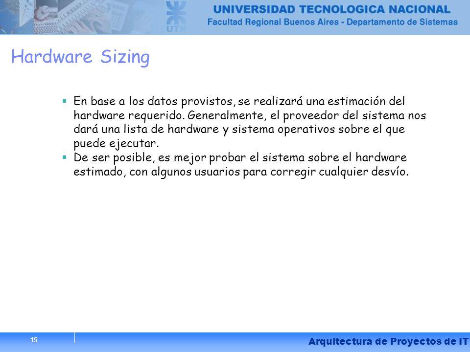 Hardware Sizing En base a los datos provistos, se realizará una estimación del hardware requerido. Generalmente, el proveedor del sistema nos dará una