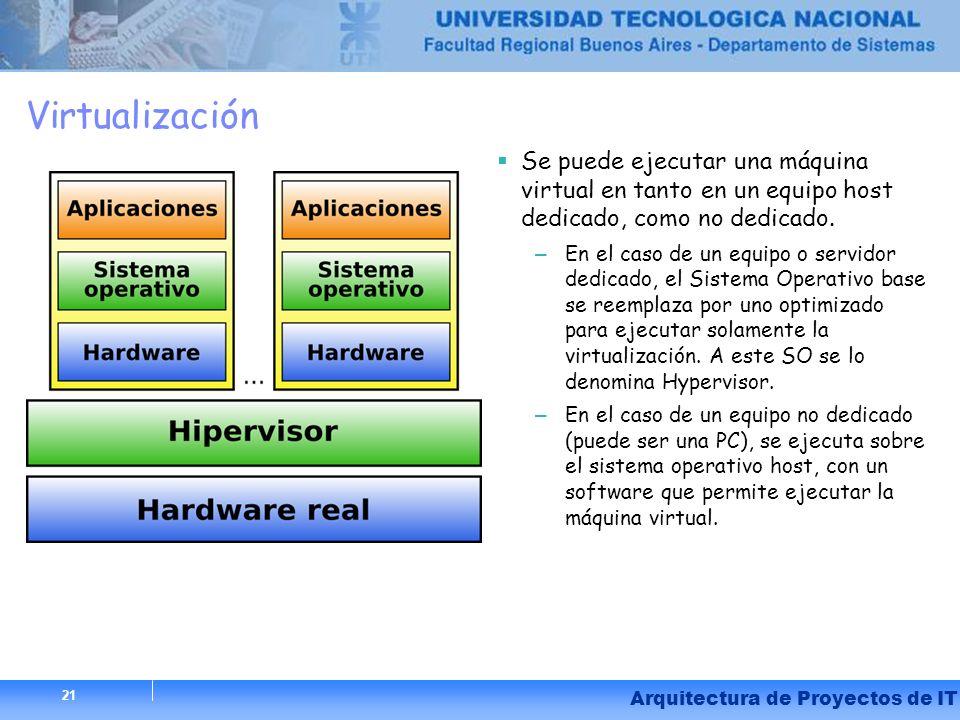 21 Arquitectura de Proyectos de IT Virtualización Se puede ejecutar una máquina virtual en tanto en un equipo host dedicado, como no dedicado. – En el