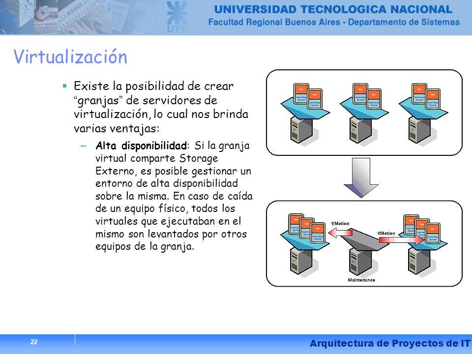 22 Arquitectura de Proyectos de IT Virtualización Existe la posibilidad de creargranjas de servidores de virtualización, lo cual nos brinda varias ven