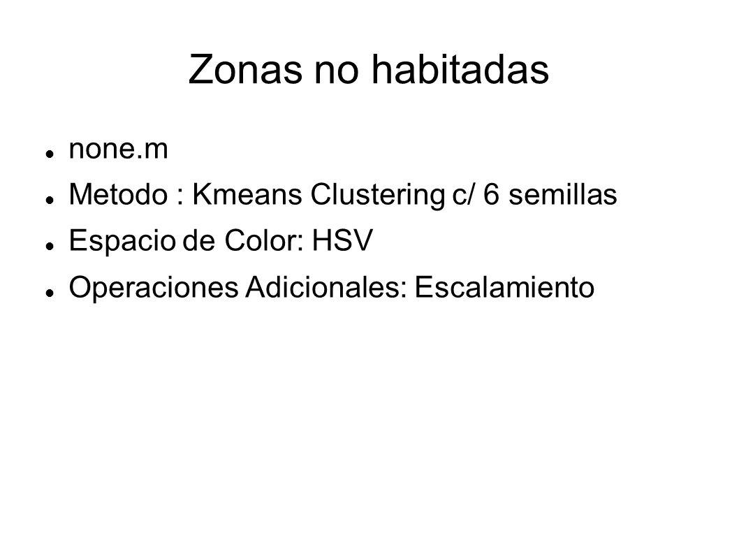 Zonas no habitadas none.m Metodo : Kmeans Clustering c/ 6 semillas Espacio de Color: HSV Operaciones Adicionales: Escalamiento