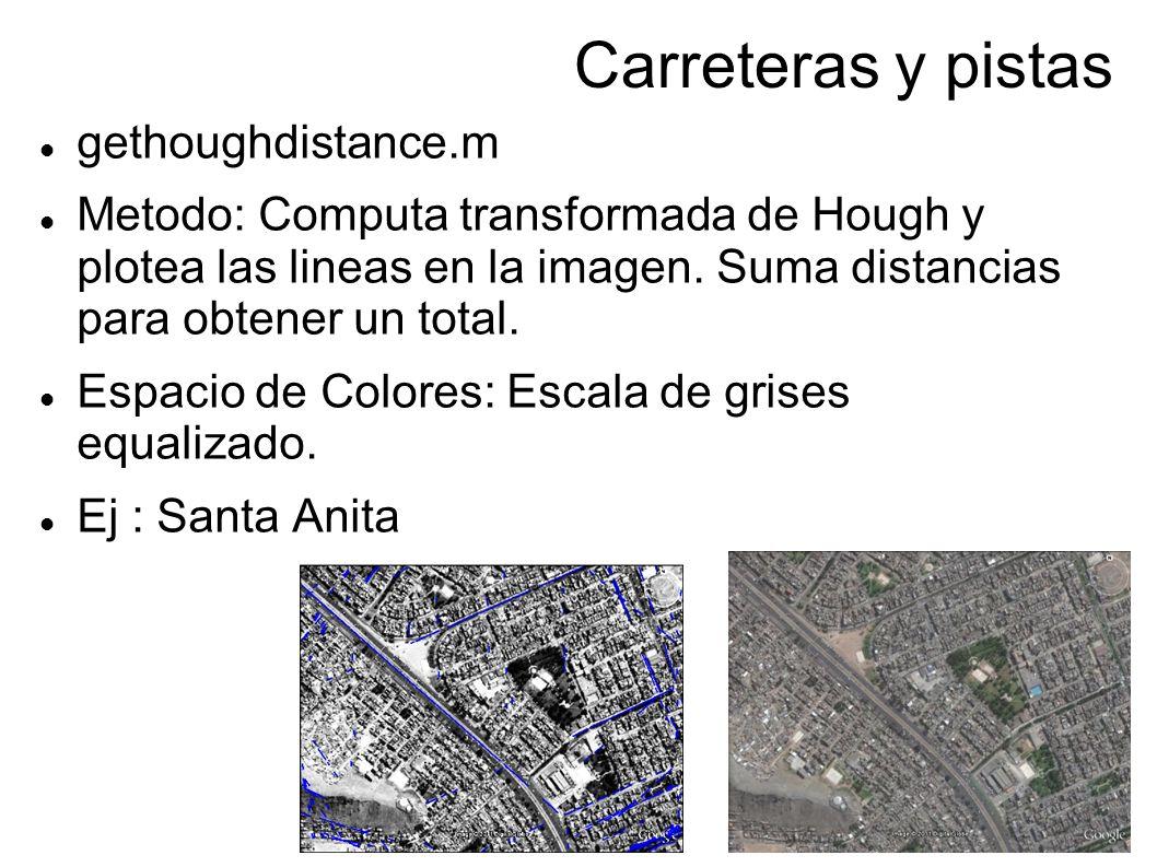 Carreteras y pistas gethoughdistance.m Metodo: Computa transformada de Hough y plotea las lineas en la imagen. Suma distancias para obtener un total.