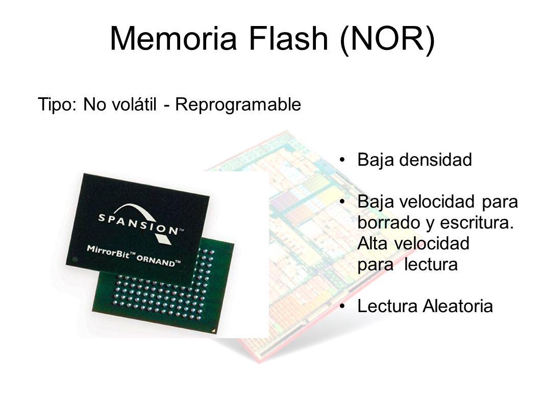 Memoria Flash (NOR) Tipo: No volátil - Reprogramable Baja densidad Baja velocidad para borrado y escritura. Alta velocidad para lectura Lectura Aleato