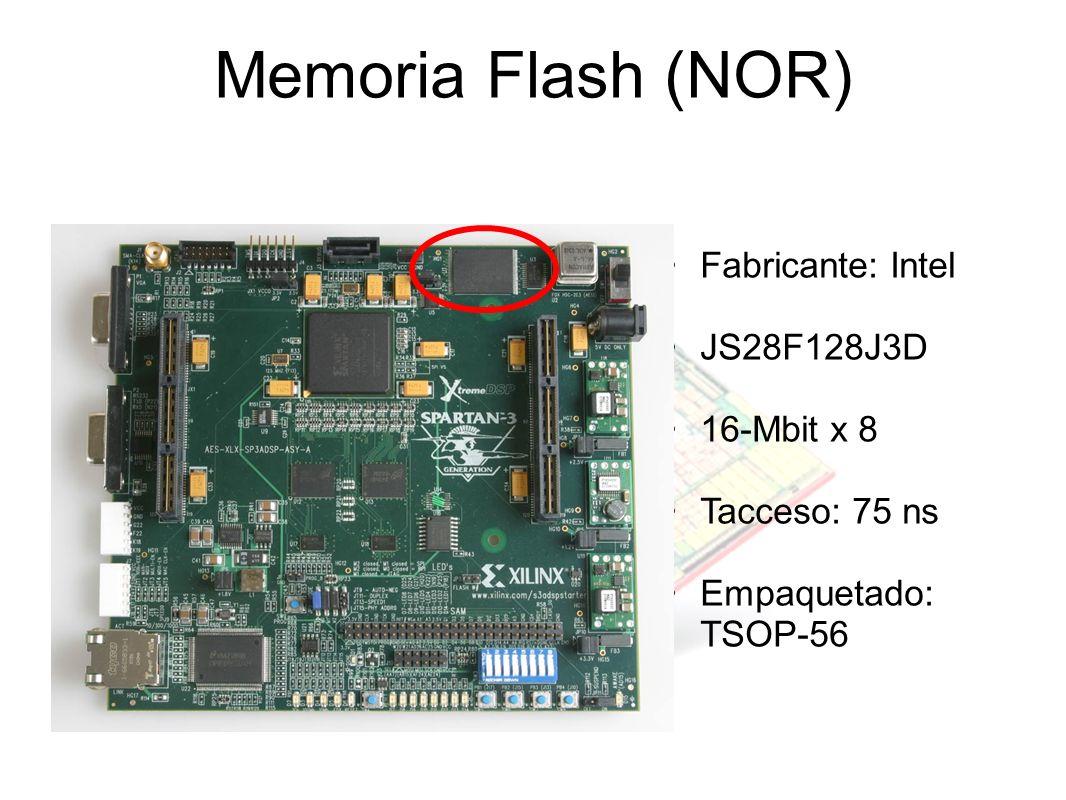 Memoria Flash (NOR) Fabricante: Intel JS28F128J3D 16-Mbit x 8 Tacceso: 75 ns Empaquetado: TSOP-56