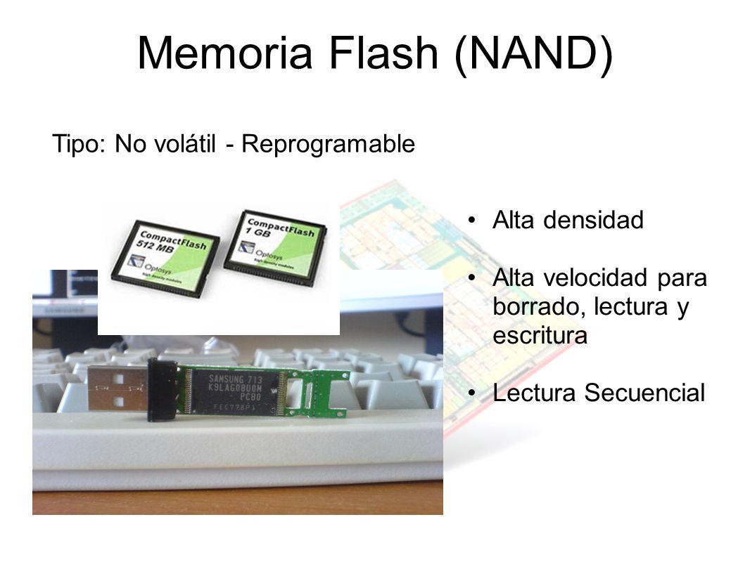 Memoria Flash (NAND) Tipo: No volátil - Reprogramable Alta densidad Alta velocidad para borrado, lectura y escritura Lectura Secuencial