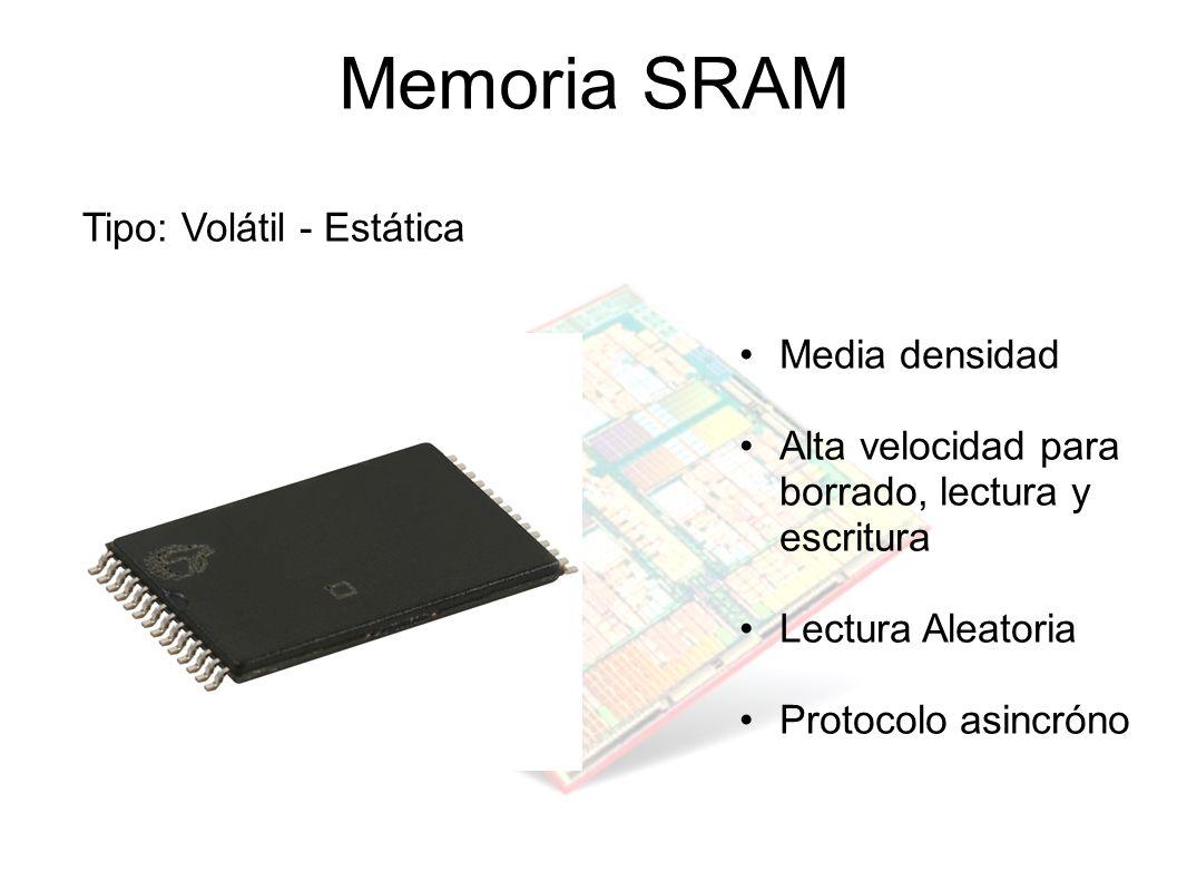 Memoria SRAM Tipo: Volátil - Estática Media densidad Alta velocidad para borrado, lectura y escritura Lectura Aleatoria Protocolo asincróno
