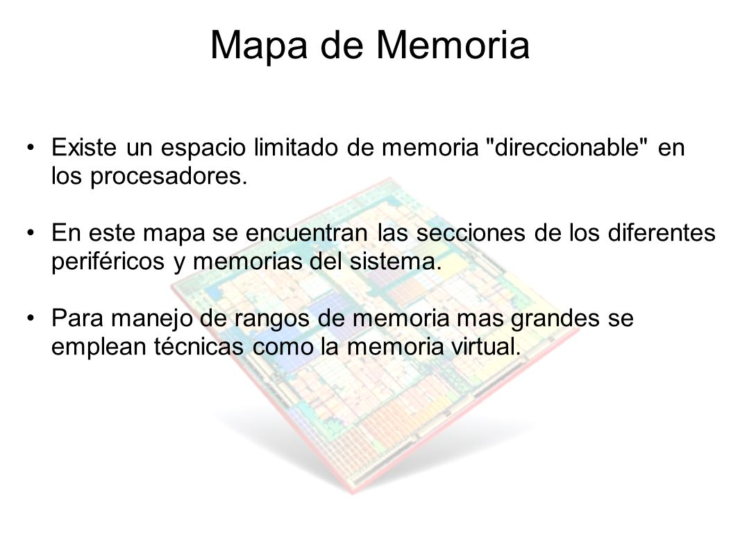 Mapa de Memoria Existe un espacio limitado de memoria