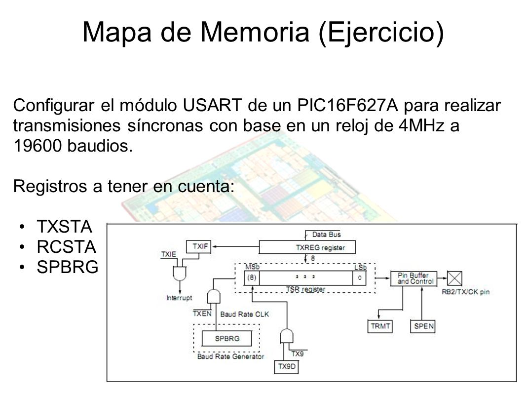 Mapa de Memoria (Ejercicio) Configurar el módulo USART de un PIC16F627A para realizar transmisiones síncronas con base en un reloj de 4MHz a 19600 bau