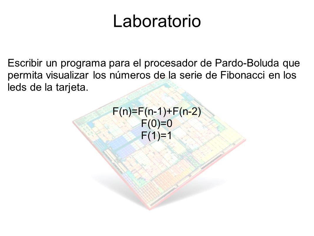 Laboratorio Escribir un programa para el procesador de Pardo-Boluda que permita visualizar los números de la serie de Fibonacci en los leds de la tarj