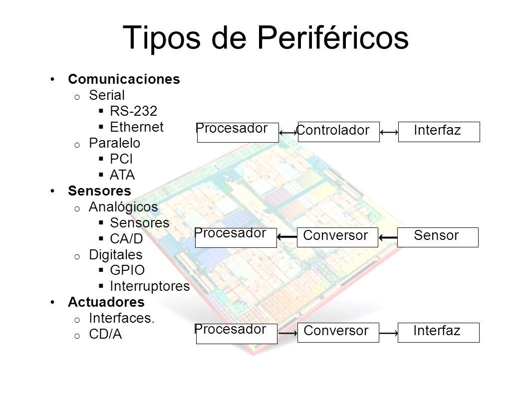 Tipos de Periféricos Comunicaciones o Serial RS-232 Ethernet o Paralelo PCI ATA Sensores o Analógicos Sensores CA/D o Digitales GPIO Interruptores Act