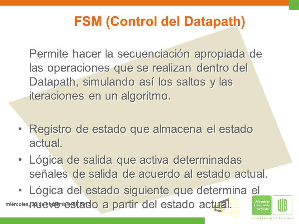 FSM (Control del Datapath) Permite hacer la secuenciación apropiada de las operaciones que se realizan dentro del Datapath, simulando así los saltos y
