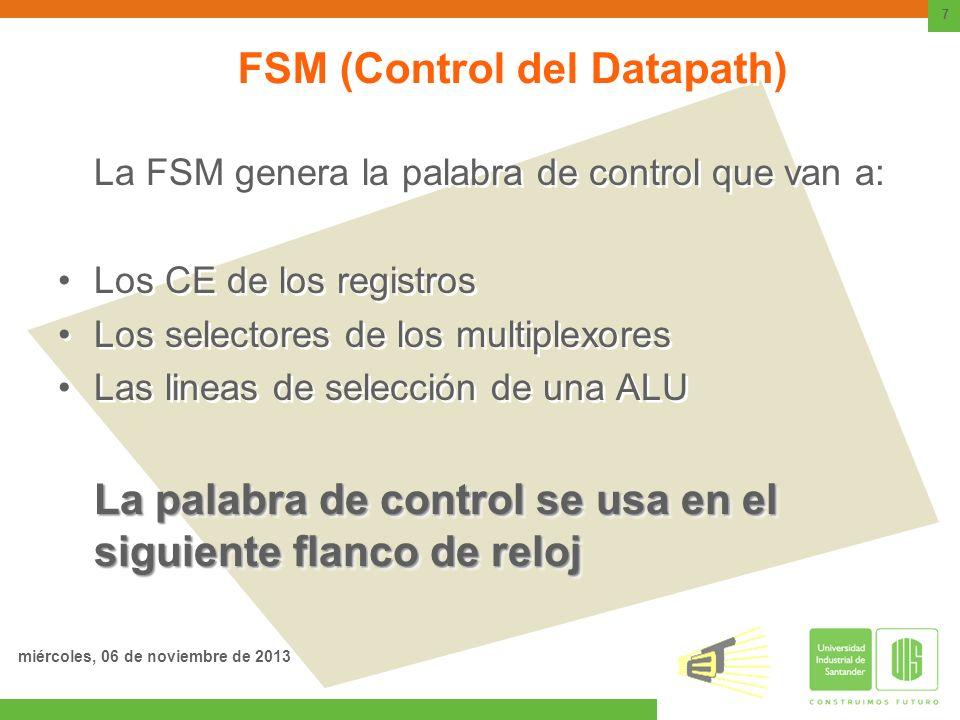 FSM (Control del Datapath) La FSM genera la palabra de control que van a: Los CE de los registros Los selectores de los multiplexores Las lineas de se