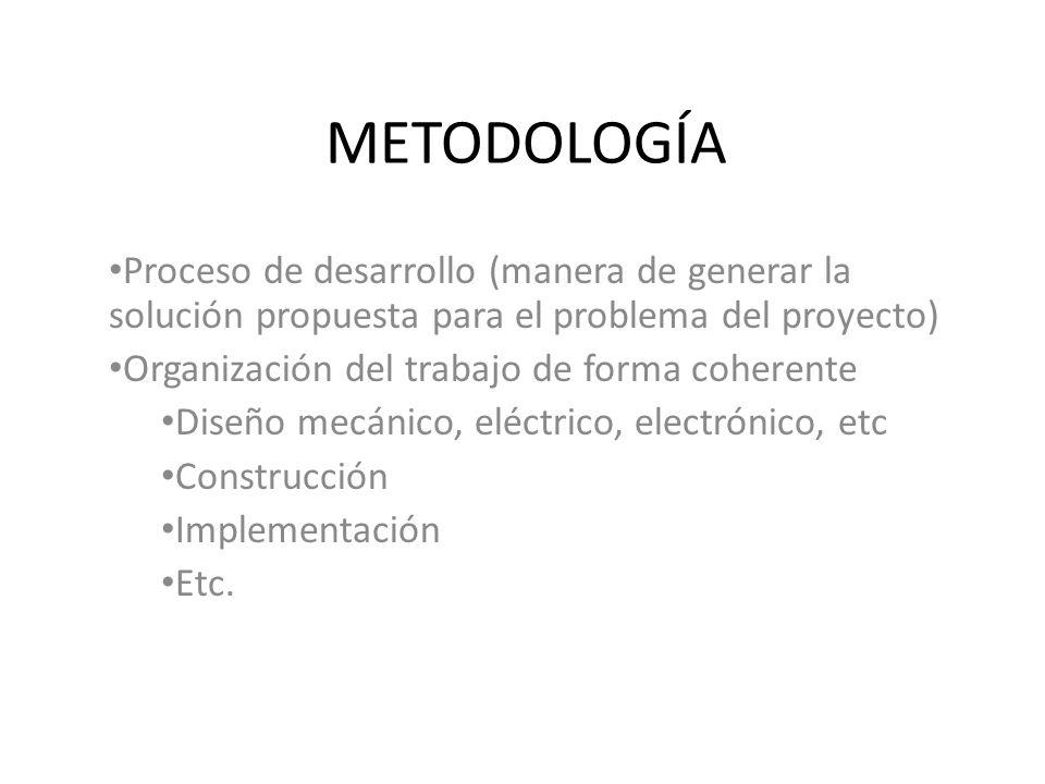 METODOLOGÍA Proceso de desarrollo (manera de generar la solución propuesta para el problema del proyecto) Organización del trabajo de forma coherente Diseño mecánico, eléctrico, electrónico, etc Construcción Implementación Etc.