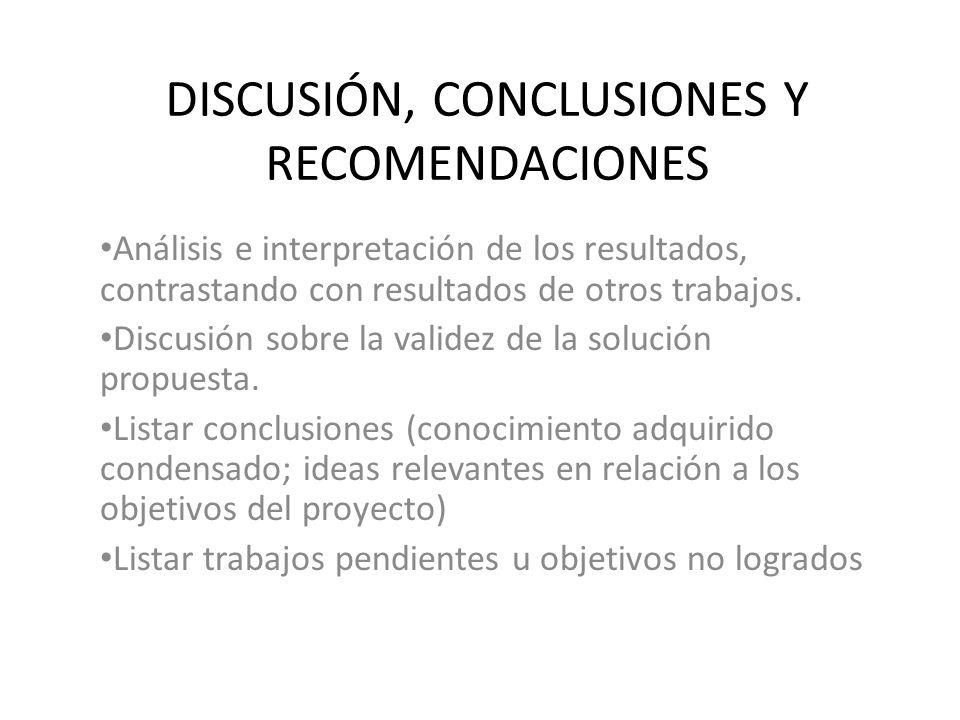 REFERENCIAS BIBLIOGRÁFICAS Listar artículos técnicos, tesis, libros, catálogos, páginas web, etc.