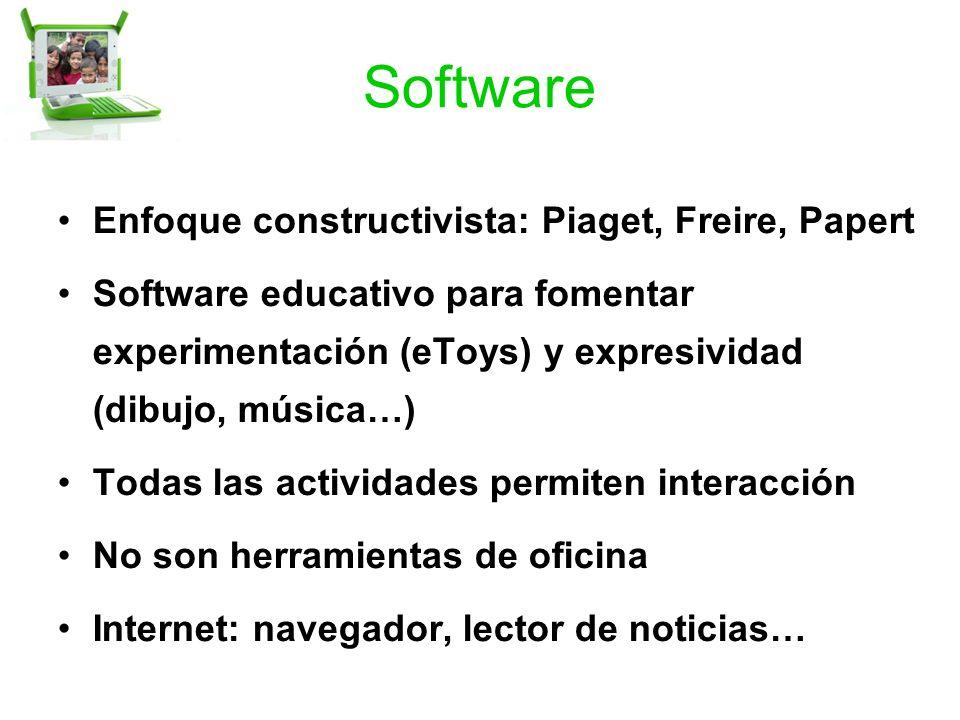 Software Enfoque constructivista: Piaget, Freire, Papert Software educativo para fomentar experimentación (eToys) y expresividad (dibujo, música…) Todas las actividades permiten interacción No son herramientas de oficina Internet: navegador, lector de noticias…