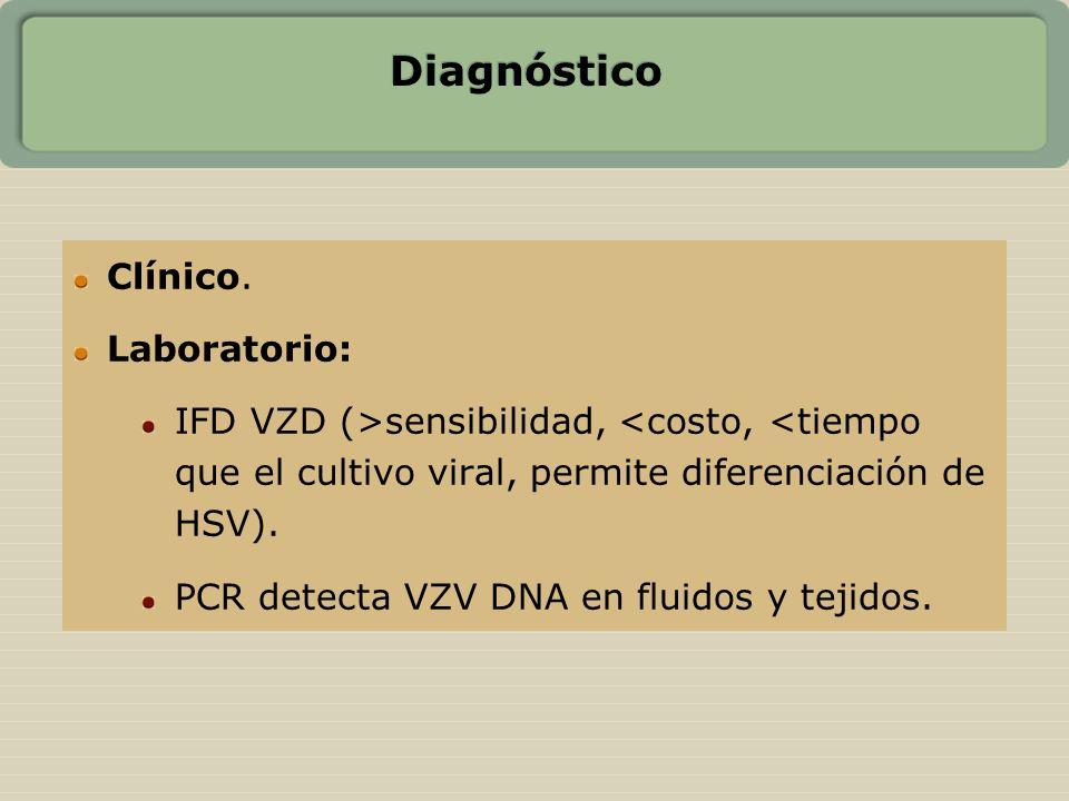 Diagnóstico Clínico. Laboratorio: IFD VZD (>sensibilidad, <costo, <tiempo que el cultivo viral, permite diferenciación de HSV). PCR detecta VZV DNA en
