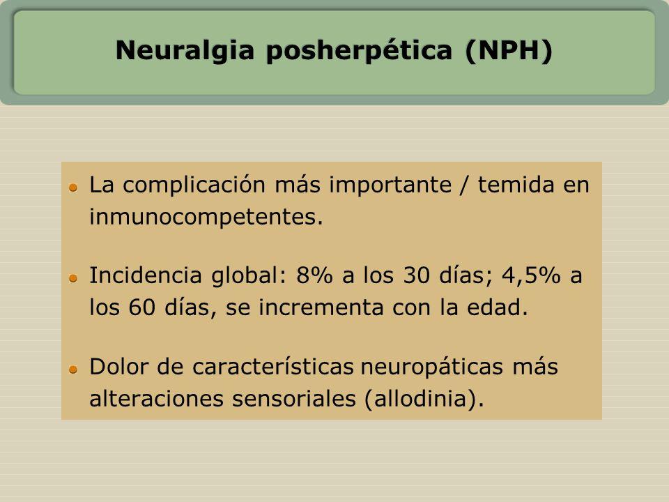 Neuralgia posherpética (NPH) La complicación más importante / temida en inmunocompetentes. Incidencia global: 8% a los 30 días; 4,5% a los 60 días, se