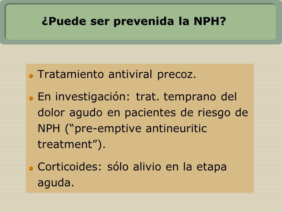 ¿Puede ser prevenida la NPH? Tratamiento antiviral precoz. En investigación: trat. temprano del dolor agudo en pacientes de riesgo de NPH (pre-emptive