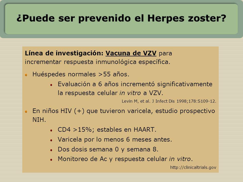 ¿Puede ser prevenido el Herpes zoster? Línea de investigación: Vacuna de VZV para incrementar respuesta inmunológica específica. Huéspedes normales >5