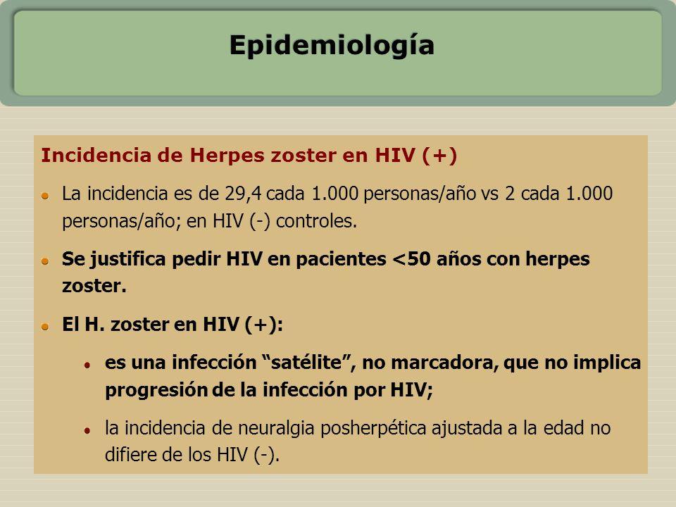 Epidemiología Incidencia de Herpes zoster en HIV (+) La incidencia es de 29,4 cada 1.000 personas/año vs 2 cada 1.000 personas/año; en HIV (-) control