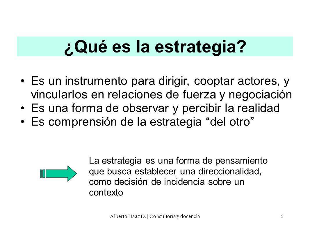 ¿Qué es la estrategia? Es un instrumento para dirigir, cooptar actores, y vincularlos en relaciones de fuerza y negociación Es una forma de observar y