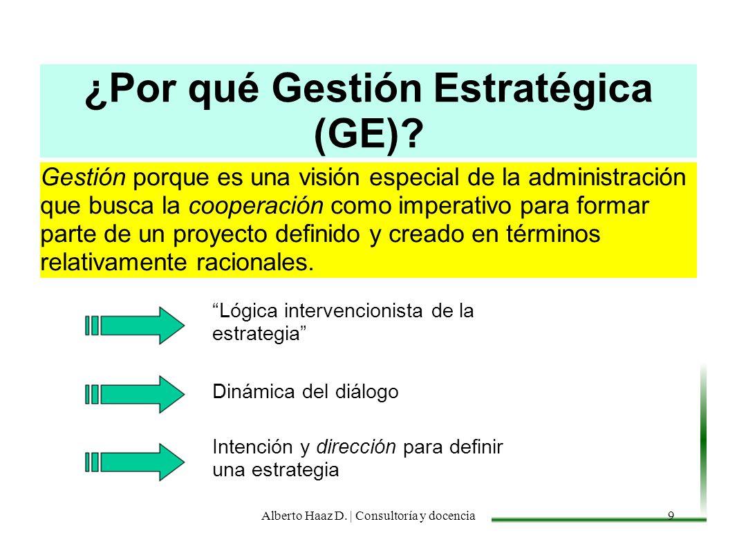 ¿Por qué Gestión Estratégica (GE)? Gestión porque es una visión especial de la administración que busca la cooperación como imperativo para formar par
