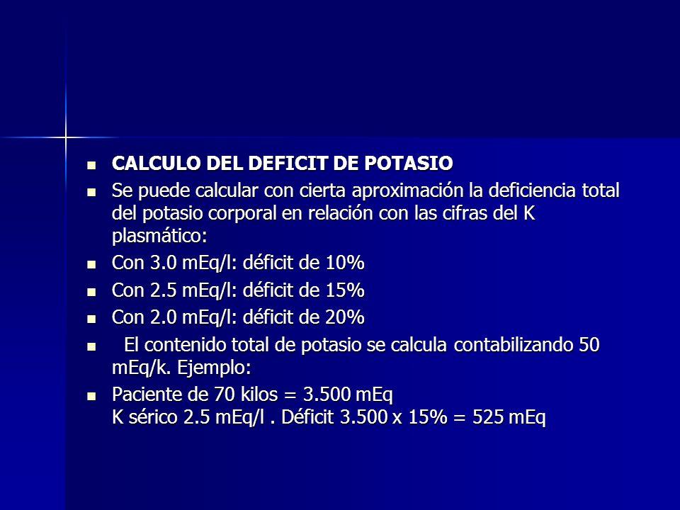 CALCULO DEL DEFICIT DE POTASIO CALCULO DEL DEFICIT DE POTASIO Se puede calcular con cierta aproximación la deficiencia total del potasio corporal en r