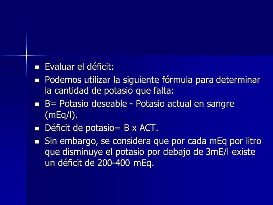 Evaluar el déficit: Evaluar el déficit: Podemos utilizar la siguiente fórmula para determinar la cantidad de potasio que falta: Podemos utilizar la si