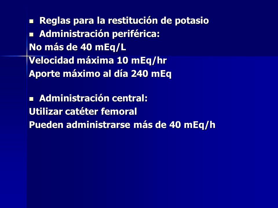 Reglas para la restitución de potasio Reglas para la restitución de potasio Administración periférica: Administración periférica: No más de 40 mEq/L V