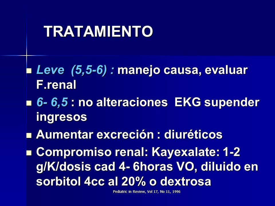 Pediatric in Review, Vol 17, No 11, 1996 TRATAMIENTO Leve (5,5-6) : manejo causa, evaluar F.renal Leve (5,5-6) : manejo causa, evaluar F.renal 6- 6,5