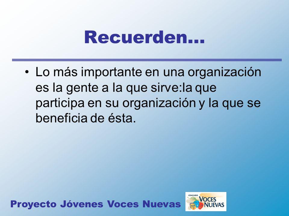 Recuerden… Lo más importante en una organización es la gente a la que sirve:la que participa en su organización y la que se beneficia de ésta. Proyect