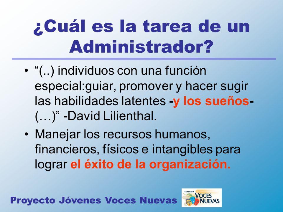 ¿Cuál es la tarea de un Administrador? (..) individuos con una función especial:guiar, promover y hacer sugir las habilidades latentes -y los sueños-
