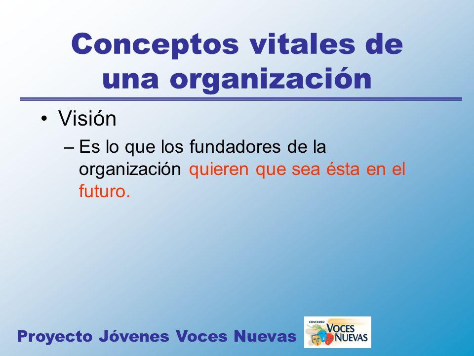 Conceptos vitales de una organización Visión –Es lo que los fundadores de la organización quieren que sea ésta en el futuro. Proyecto Jóvenes Voces Nu
