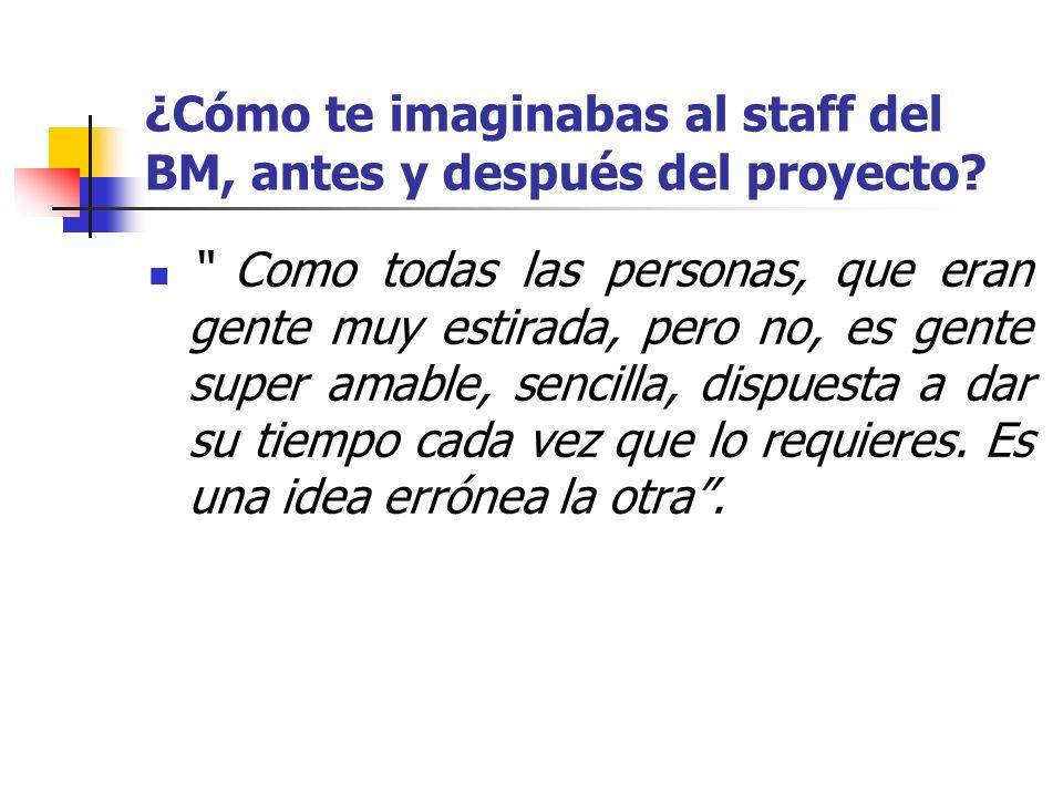 ¿Cómo te imaginabas al staff del BM, antes y después del proyecto? Como todas las personas, que eran gente muy estirada, pero no, es gente super amabl