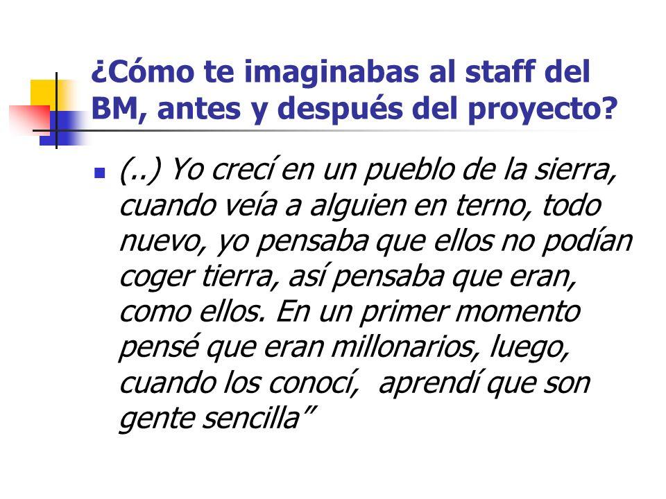 ¿Cómo te imaginabas al staff del BM, antes y después del proyecto? (..) Yo crecí en un pueblo de la sierra, cuando veía a alguien en terno, todo nuevo