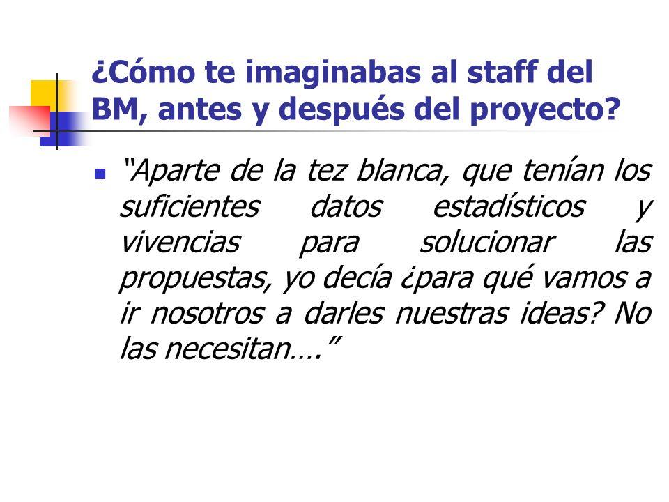 ¿Cómo te imaginabas al staff del BM, antes y después del proyecto? Aparte de la tez blanca, que tenían los suficientes datos estadísticos y vivencias