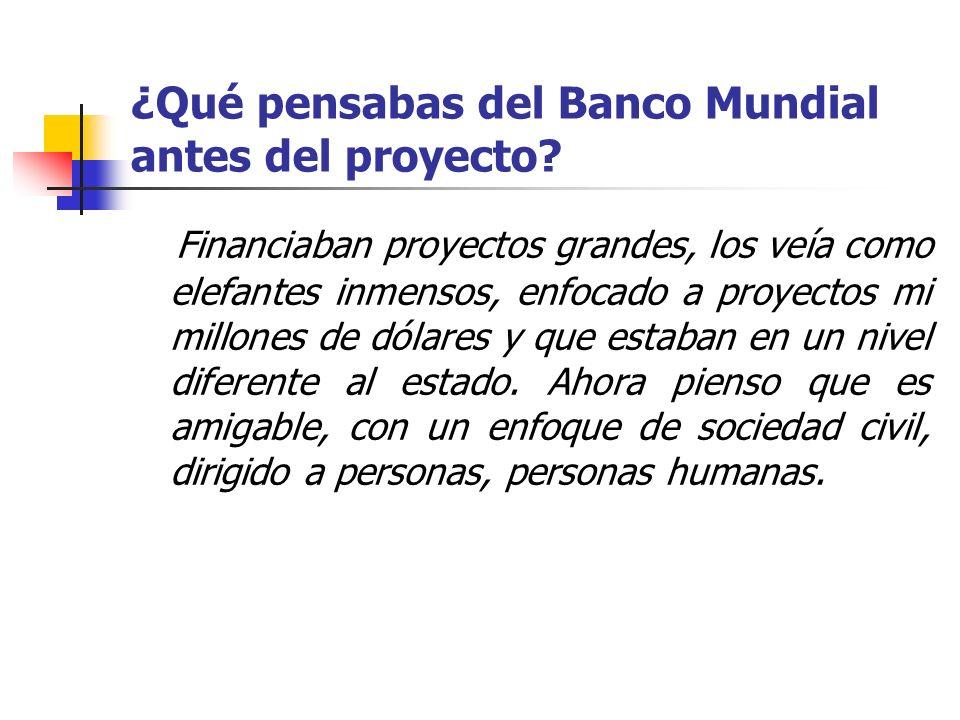 ¿Qué pensabas del Banco Mundial antes del proyecto? Financiaban proyectos grandes, los veía como elefantes inmensos, enfocado a proyectos mi millones
