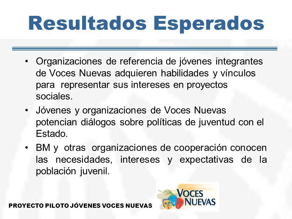 Resultados Esperados Organizaciones de referencia de jóvenes integrantes de Voces Nuevas adquieren habilidades y vínculos para representar sus interes