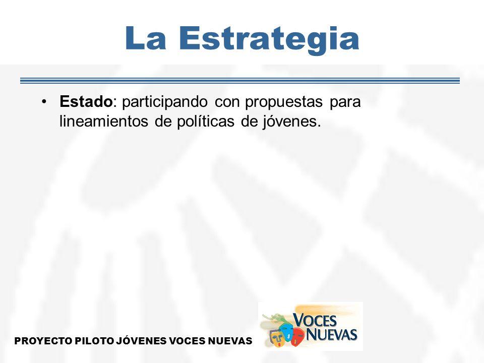 La Estrategia Estado: participando con propuestas para lineamientos de políticas de jóvenes. PROYECTO PILOTO JÓVENES VOCES NUEVAS