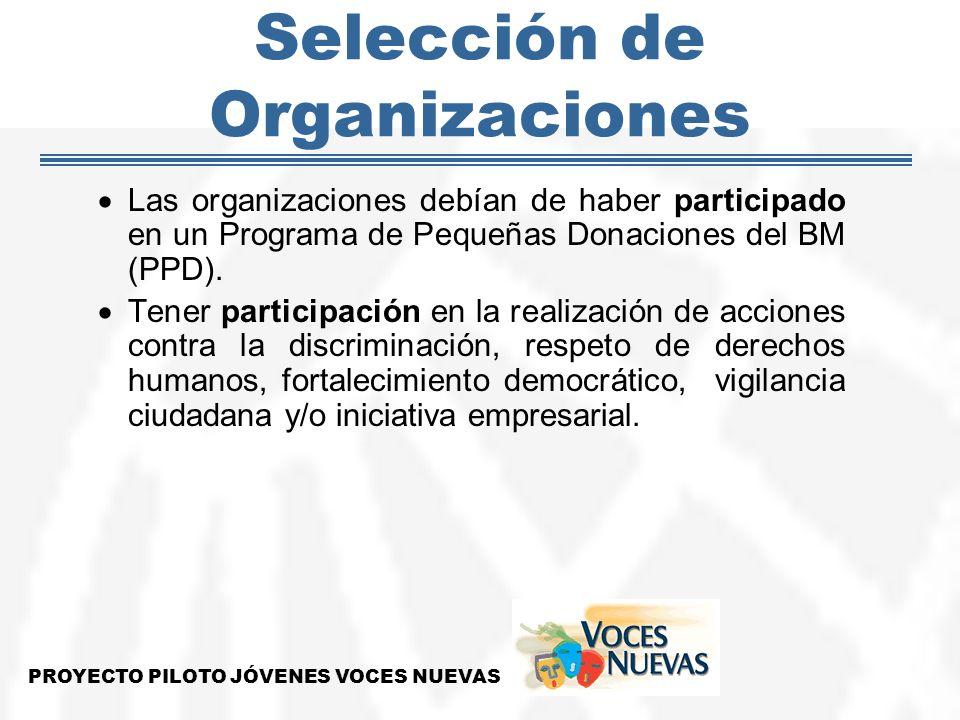Selección de Organizaciones Las organizaciones debían de haber participado en un Programa de Pequeñas Donaciones del BM (PPD). Tener participación en