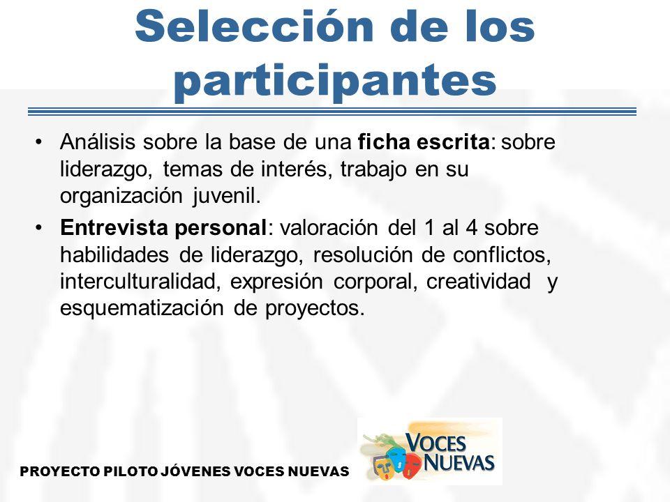 Selección de los participantes Análisis sobre la base de una ficha escrita: sobre liderazgo, temas de interés, trabajo en su organización juvenil. Ent