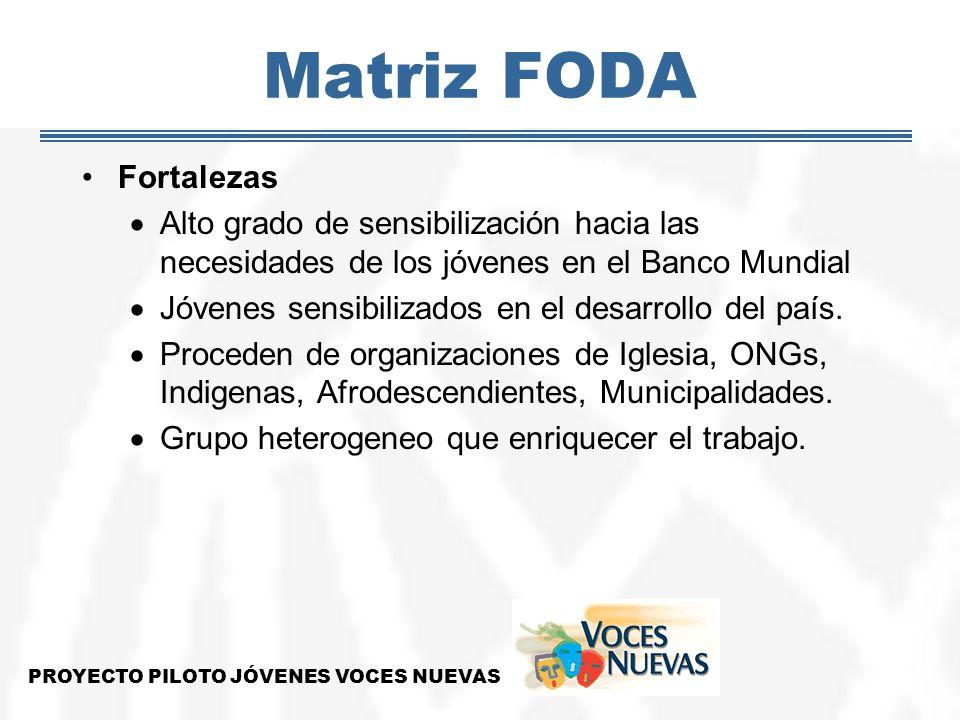 Matriz FODA Fortalezas Alto grado de sensibilización hacia las necesidades de los jóvenes en el Banco Mundial Jóvenes sensibilizados en el desarrollo