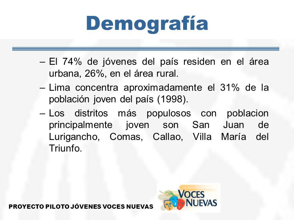Demografía –El 74% de jóvenes del país residen en el área urbana, 26%, en el área rural. –Lima concentra aproximadamente el 31% de la población joven
