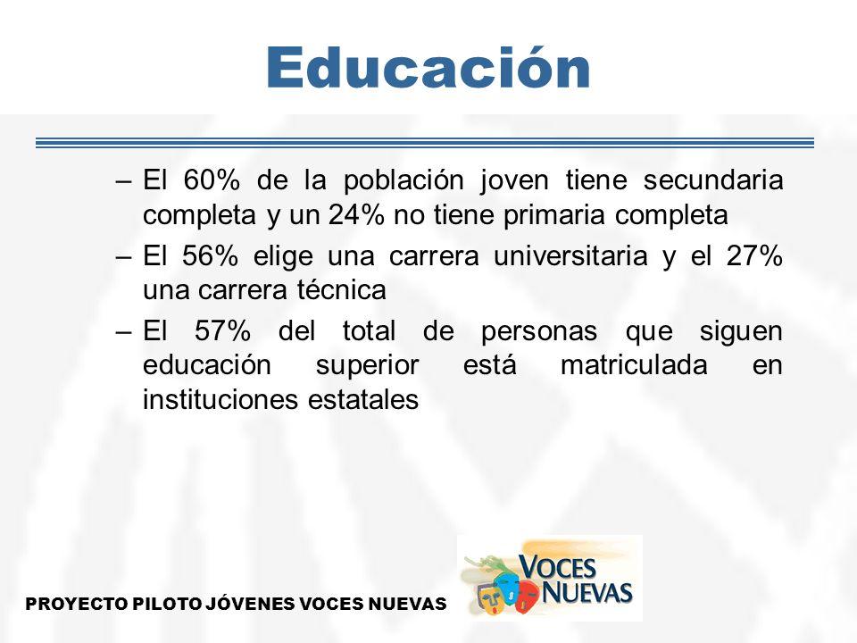 Educación –El 60% de la población joven tiene secundaria completa y un 24% no tiene primaria completa –El 56% elige una carrera universitaria y el 27%